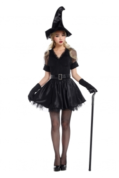 Womens V Neck Sheer Halloween Witch Costume Black