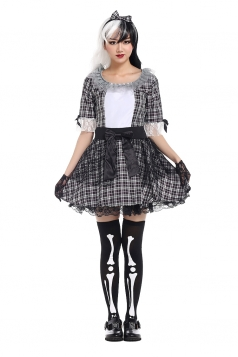 Womens Plaid Bow Halloween Maid Costume Black