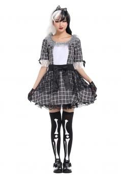 Womens Plaid Bow Halloween Maid Costume Black