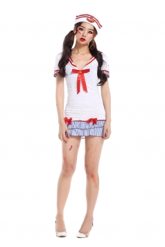 Womens Striped Bow Halloween Sailor Costume White