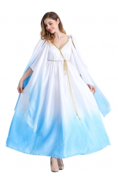 Womens Open Sleeve Halloween Ancient Greece Goddess Costume Light Blue