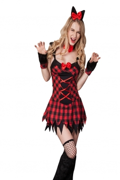 Womens Plaid Lace-up Bow Halloween Cat Costume Red