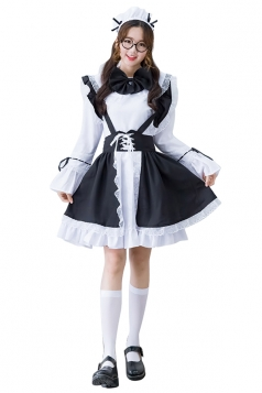 Womens Lace-up Bow Flare Sleeve Maid Halloween Costume White