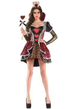 Womens Plaid Bow Alice Evil Red Queen Halloween Costume Brown
