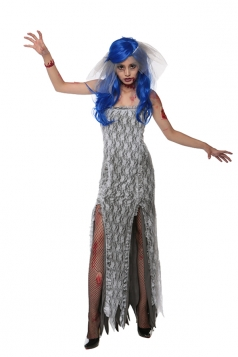 Womens Slit Tube Halloween Zombie Bride Costume Dark Gray