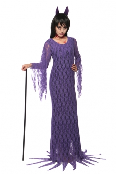 Womens Fringe Long Sleeve Maxi Devil Halloween Costume Purple