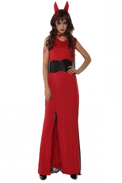 Womens Sleeveless Slit Maxi Halloween Devil Costume Red