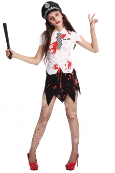 Womens Asymmetric Slit Bloody Halloween Cop Costume White