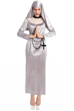 Womens Long Sleeve Maxi Halloween Nun Costume Silvery