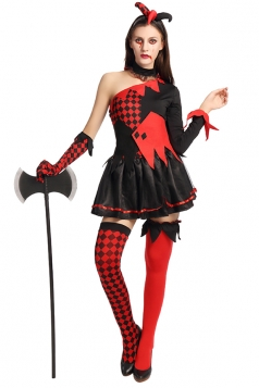 Womens One Shoulder Plaid Halloween Circus Costume Black