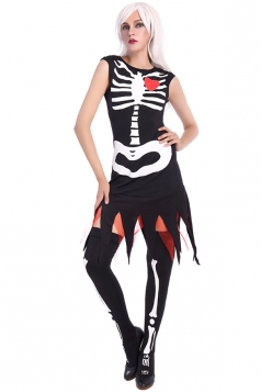 Womens Skeleton Printed Fringe Halloween Zombie Costume Black