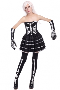 Womens Tube Skeleton Printed Halloween Zombie Costume Black