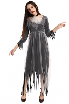 Womens Fringe Maxi Halloween Corpse Bride Costume Black