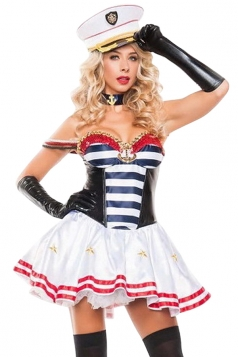 Womens Sexy Bandeau Striped Halloween Sailor Costume White