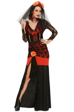 Womens Side Slit Day of The Dead Diva Halloween Costume Red