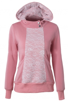 Womens Lace Patchwork Long Sleeve Pockets Hoodie Pink
