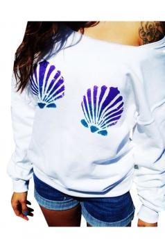 Womens Boat Neck Shell Printed Long Sleeve Sweatshirt White
