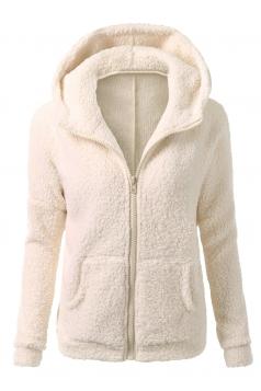 Womens Zip Up Long Sleeve Plain Fleece Jacket Hoodie Apricot
