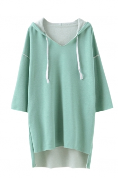 Womens Loose V Neck High Low Long Sleeve Plain Hoodie Green