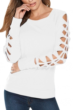 Womens Crewneck Cut-out Bow Sleeve Plain Pullover Sweatshirt White