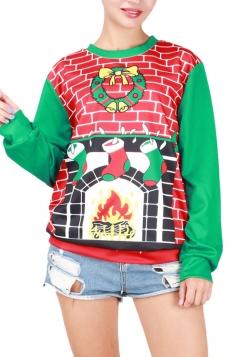 Womens Round Neck Christmas Stocking Printed Pullover Sweatshirt Red