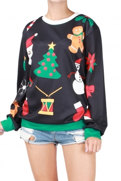 Womens Christmas Snowman Printed Pullover Sweatshirt Black
