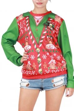 Womens Christmas Bell Printed Long Sleeve Pullover Sweatshirt Red