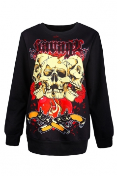 Womens Halloween Skull Printed Long Sleeve Pullover Sweatshirt Beige