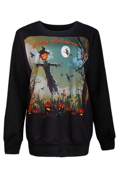 Womens Halloween Scarecrow Printed Pullover Sweatshirt Brown