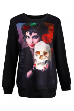 Womens Halloween Skull Beauty Printed Pullover Sweatshirt Beige White