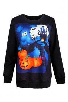 Womens Halloween Jack-o-lantern Printed Pullover Sweatshirt Orange