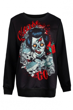 Womens Zombie Printed Long Sleeve Halloween Pullover Sweatshirt Gray