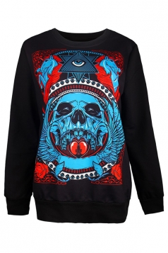 Womens Skull Badge Printed Halloween Pullover Sweatshirt Light Blue