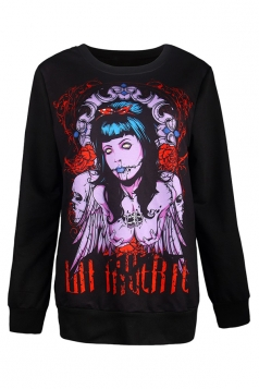 Womens Zombie Bride Printed Halloween Pullover Sweatshirt Purple
