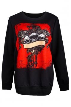 Womens Skull Printed Long Sleeve Halloween Pullover Sweatshirt Red