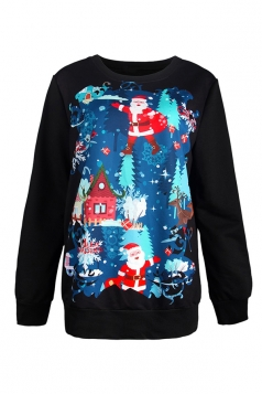 Womens Christmas Santa Claus Printed Pullover Sweatshirt Turquoise