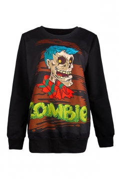 Womens Halloween Zombie Printed Pullover Sweatshirt Yellow