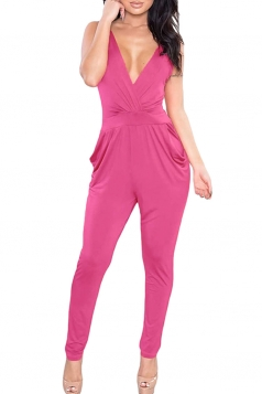 Womens Plunging Neck Backless Sleeveless Plain Jumpsuit Rose Red