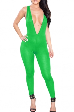 Womens Plunging Neck Sleeveless Plain Bodycon Catsuit Light Green