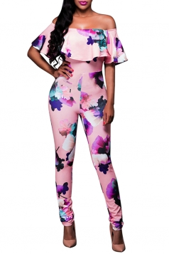 Womens Off Shoulder Ruffle Floral Printed Jumpsuit Pink