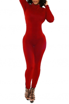 Womens Bodycon Long Sleeve Plain Sports Jumpsuit Red