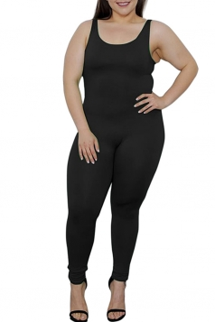 Womens Plus Size Plain Sleeveless Bodycon Jumpsuit Black