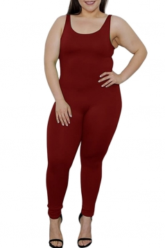 Womens Plus Size Plain Sleeveless Bodycon Jumpsuit Ruby
