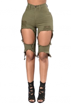 Womens High Waist Ripped Cut Out Plain Jeans Shorts Army Green