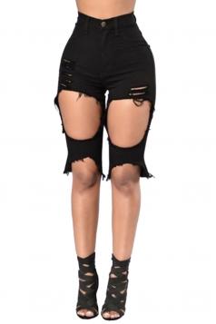 Womens High Waist Ripped Cut Out Plain Jeans Shorts Black