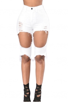 Womens High Waist Ripped Cut Out Plain Jeans Shorts White