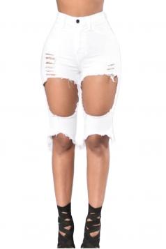Womens High Waist Ripped Cut Out Plain Jeans Shorts White