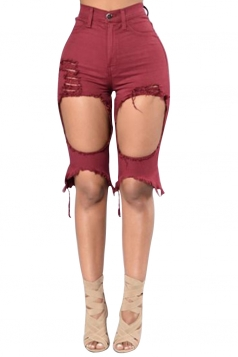 Womens High Waist Ripped Cut Out Plain Jeans Shorts Ruby