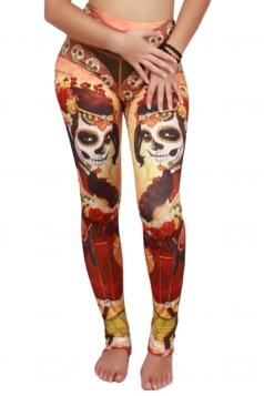 Womens High Waist Flower Skull Printed Seamless Sports Leggings Orange