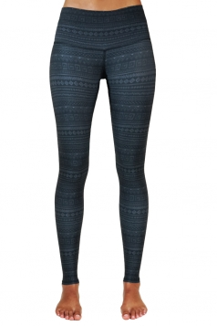 Womens Geometric Printed Yoga Ankle Length Sports Leggings Dark Gray